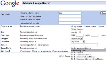 Google Image Search Filters