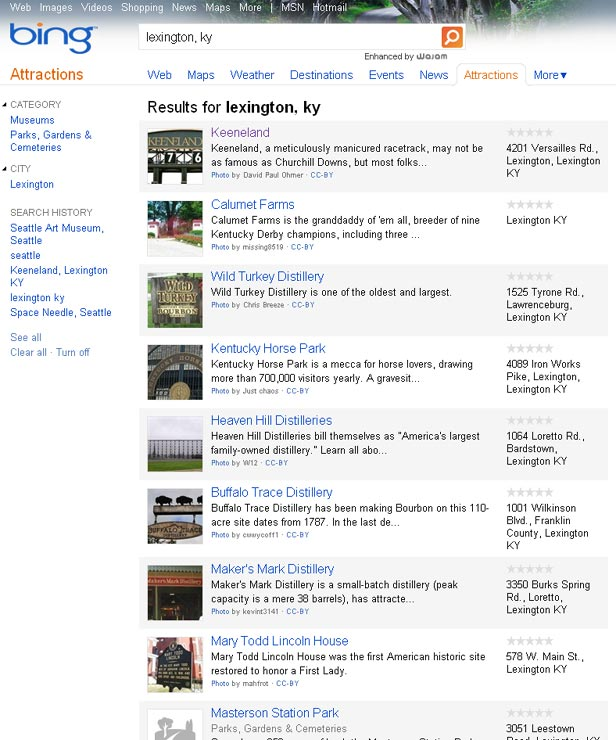 Bing Attractions Search