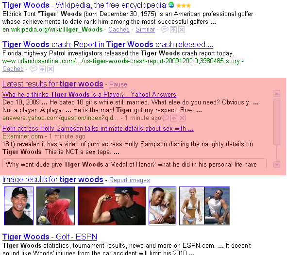 Tiger Wood in Real Time Search