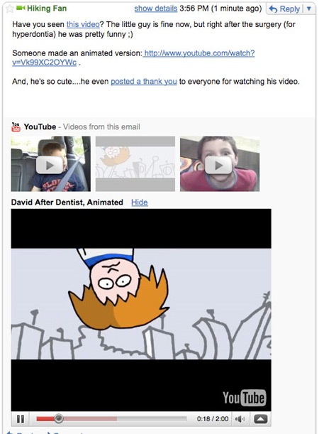 YouTube in Gmail